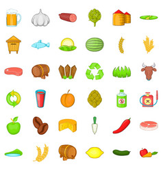 Agriculture property icons set cartoon style vector
