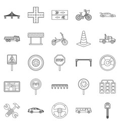 Bitumen icons set outline style vector