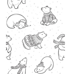 Black and white hand drawn Polar bears seamless vector image