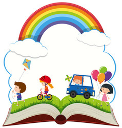 book with happy children playing in park vector image