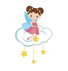 Cartoon fairy sitting on the cloud cartoon fairy vector