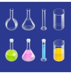 Chemical test tube pictogram icons set erlenmeyer vector