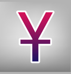 Chinese yuan sign purple gradient icon on vector