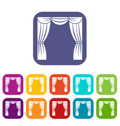 Curtain on stage icons set vector