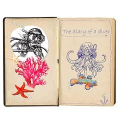 Diary of diver vector