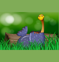 Dinosaur hatching egg in park vector