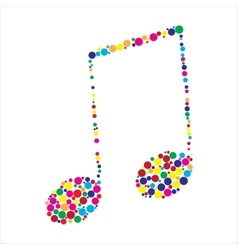 Dotted colorful music note vector image vector image