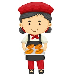 Female baker holding tray of bread vector image vector image