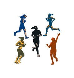 Female Marathon Runners Retro Set vector image