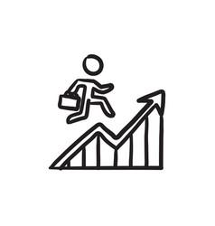 Financial recovery sketch icon vector
