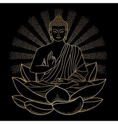 Gold buddha sitting on lotus with beam of light vector