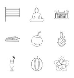 Holiday in thailand icons set outline style vector