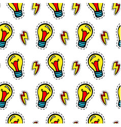 Light bulb patches seamless pattern vector