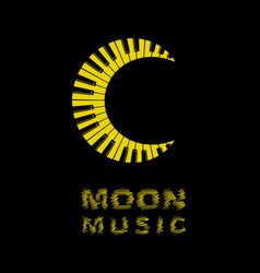 Moon logo as piano keyboard icon simple style vector