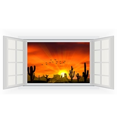 Open window of cactus tree when the sunset vector image