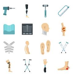 Orthopedics prosthetics icons set in flat style vector