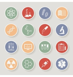 Round science medical and education icons vector