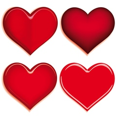 set of 4 valentine heart vector image vector image