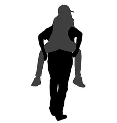 Silhouettes of young male carrying his girlfriend vector image vector image