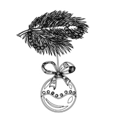 Sketch branch of a christmas tree decoration ball vector