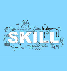 Skill word for education with icons flat design vector