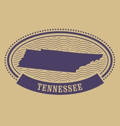 Tennessee map silhouette - oval stamp vector