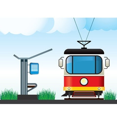 tram on the stop vector image