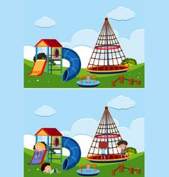two playground scenes with and without children vector image vector image