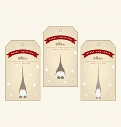 Vintage christmas gift tags with cute gnomes vector