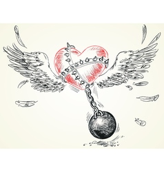Winged heart fettered fetters hand-drawn version vector