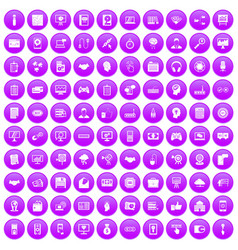 100 web development icons set purple vector