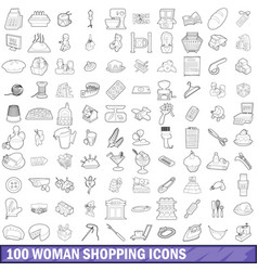 100 woman shopping icons set outline style vector image
