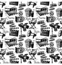 Sketch movie film cinema seamless pattern hand vector