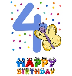 Fourth birthday cartoon card design vector