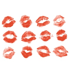 Red lipstick kiss isolated on white background vector