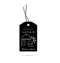 tag with santorini greek island icon vector image