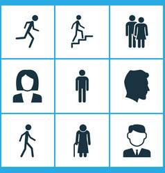 Person icons set collection of work man running vector