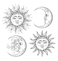 Boho chic flash tattoo design sun and moon set vector