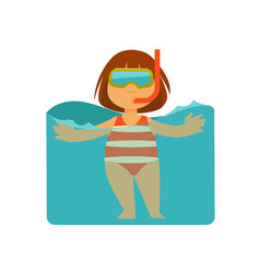 Girl kid or child swimming in sea water vector