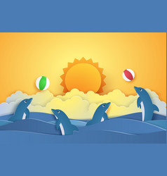 Summer time dolphins playing with ball paper vector