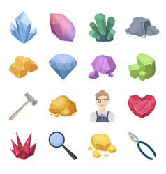 Precious minerals and jeweler set icons in cartoon vector