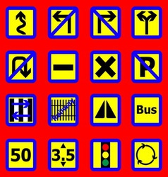 Traffic sign icons on red background vector