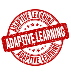 Adaptive learning red grunge stamp vector