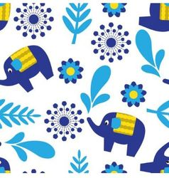 Cartoon seamless pattern with elephants and plant vector