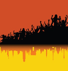 party people sihouette with shadow of city vector image