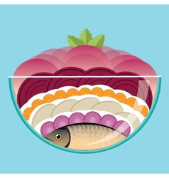 Herring under a fur coat vector