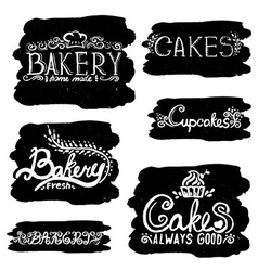 Collection of handwritten vintage retro bakery vector