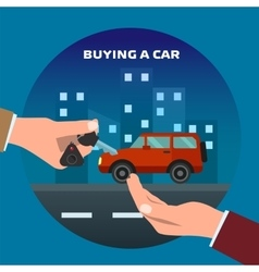Buying car man gets keys vector