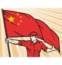 Worker with chinese flag vector