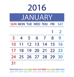 2016 calendar simple design date template month vector